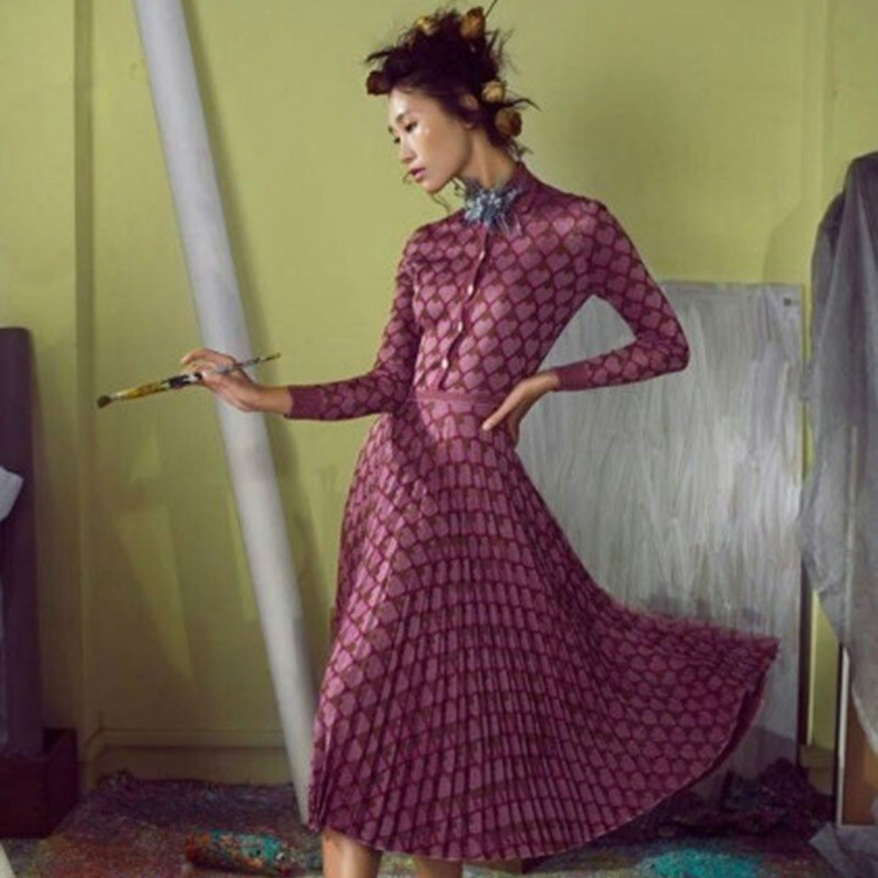 Casual Dress 2015 European Fashion Autumn Womens Full Sleeve Turn-Down Collar Mid-Calf Rose Red Heart Print Brief Long DressОдежда и ак�е��уары<br><br><br>Aliexpress