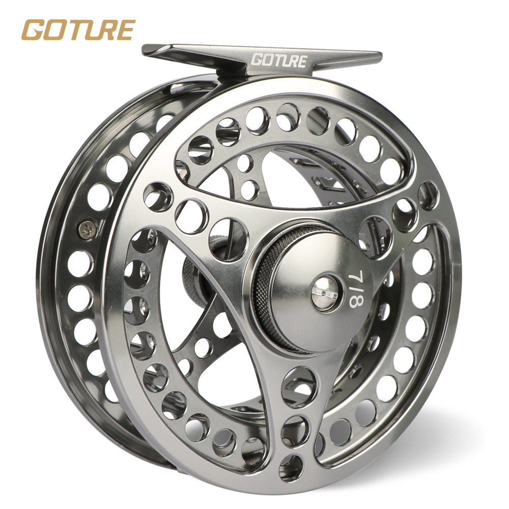 Goture Brand 5/6 7/8 wt Fly Fishing Reel CNC Machine Cut Fishing Reel Large Arbor Die Casting Aluminum Fly Reel with bag(China (Mainland))