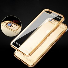 Saiboro Anti-knock with Shining Diamond Rhinestone Transparent Soft TPU Case For iphone6 SBR 0052