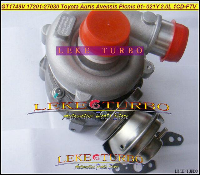 GT1749V 17201-27030 721164-0003 721164 Turbo Turbocharger For TOYOTA Auris Avensis Picnic Previa RAV4 D4D 01- 1CD-FTV 021Y 2.0L
