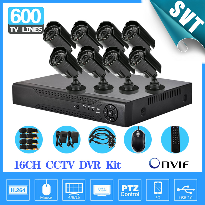 NVR Home CCTV Security 16CH H264 Network DVR Camera Video system 8pc Day Night Waterproof Camera H.264 DVR DIY Kit ,HDMI,3G,WIFI<br><br>Aliexpress