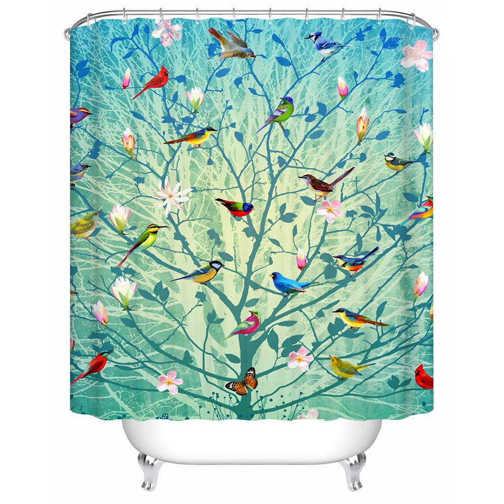 Beautiful Bird and Tree Eco-Friendly Shower Curtain Bathroom Curtain Acceptable Custom Waterproof Bathroom Curtain(China (Mainland))