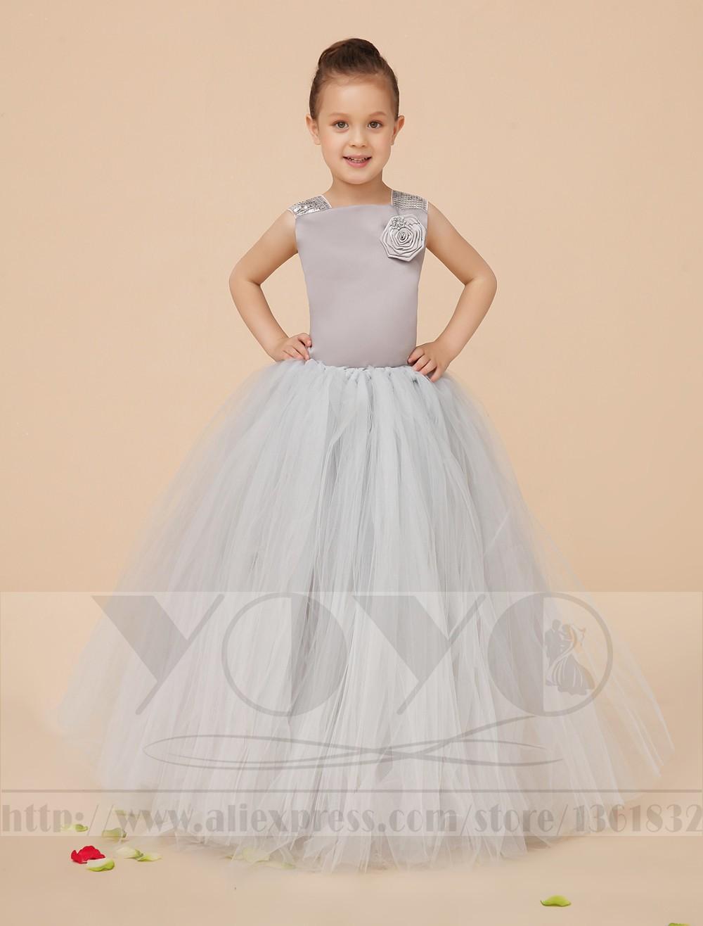 Скидки на Серебро Бальное платье Тюль little girls платья Девушки Pageant Платья с аппликации дети вечернее платье вечернее платье бесплатная доставка