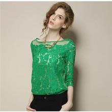 NEW HOT Women Shirt European Style Ladies Half Sleeve Shirts Hollow Out Green Lace Chiffon Blouse White Elegant Tops bz851277(China (Mainland))