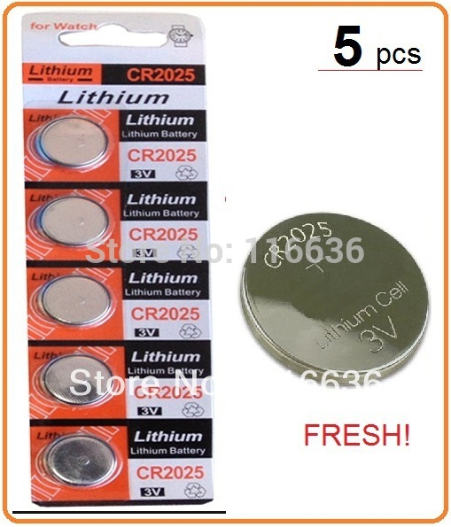 5pcs CR2025 ECR2025 2025 BR2025 KL2025 L2025 3v lithium battery Cell Button Laser LED Toys Scale card LOT(China (Mainland))