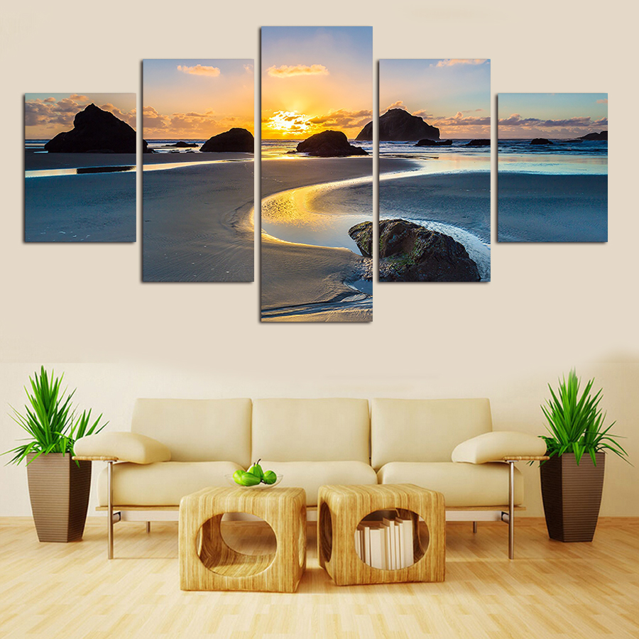 Natural Landscape No Framed 5 Piece Modern Home Wall Decor Canvas Picture Art HD Print Painting On Canvas Artworks Free Shipping