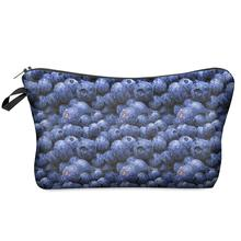 Small Cosmetic Bag 2016 3D Printing Blueberrys Women Fashion Brand Travel Makeup Case Christmas Gift H50