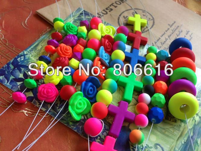 200G Mix Style &amp; Color Flsorescence Style Plastic Acrylic Beads Jewelry Findings Accessories<br><br>Aliexpress