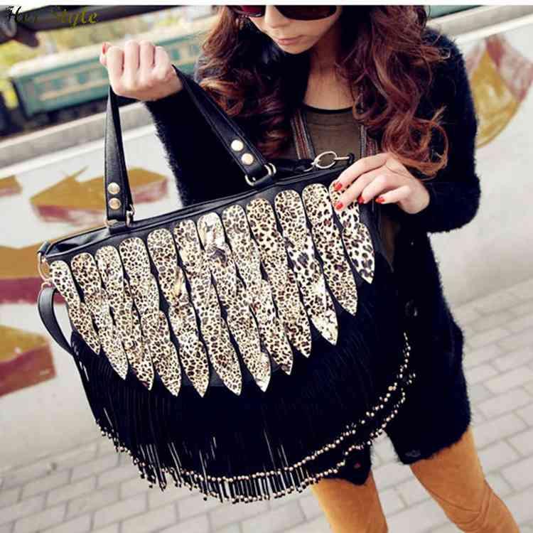 Free Shipping 2015 rivets handbag Leopard print fringe bags exquisite luxury European style shoulder bag best selling 1432937373(China (Mainland))