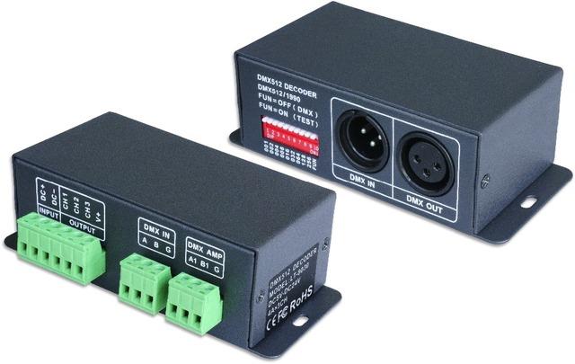 LT-8030(upgraded model);LED constant voltage DMX-PWM Decoder;DC5-24V input;4A*3 channel output;