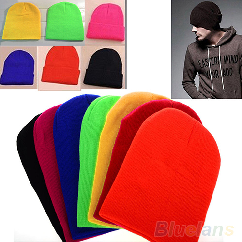 Women Men New Winter Solid Color Plain Beanie Knit Ski Cap Skull Hat Warm Cuff Blank Beany 02K4(China (Mainland))