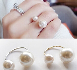 2015 NEW FASHION RINGS women pearl simulated-pearl gold plated party trendy lock wedding bands bezel setting rings(China (Mainland))
