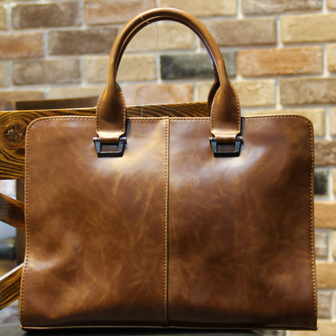 NEW 2015 British style vintage crazy horse pu leather briefcase men designer brand high quality laptop brand messenger bags(China (Mainland))