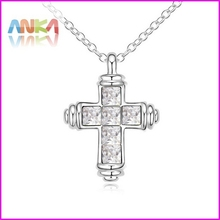 2015 Rushed Sale Trendy Women Link Chain Jewelry 18k Plated Cross Crystal Necklace Made With Swarovski