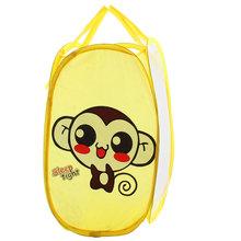 UXCELL Portable Monkey Pattern Folding Pop Up Laundry Mesh Washing Basket Storage Bag Case(China (Mainland))