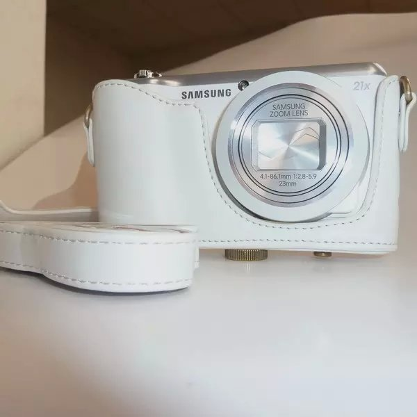 White Pu Leather Camera Bag Case Cover + Strap For Samsung Galaxy EK-GC100 GC100 Free Shipping(China (Mainland))