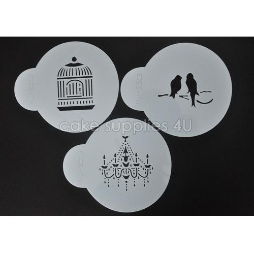 Chandelier birdcage bird cake stencils Coffee Stencil Cake Spray Mold cupcake decoration Tools(China (Mainland))