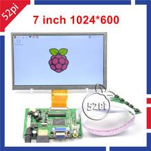 7 inch Raspberry Pi LCD Display 1024*600 TFT Monitor with Drive Board ( HDMI + VGA + 2AV ) for Raspberry Pi 3 / 2 Model B / B+(China (Mainland))