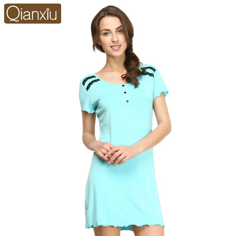Qianxiu Sleepskirts for women Modal Nightdress Short-wleeve Sexy Lace Girl Nightgown(China (Mainland))