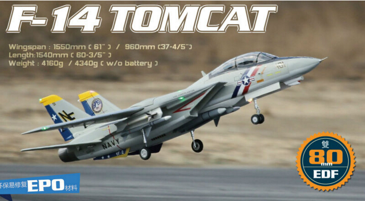 Freewing F14 F-14 Twin 80mm EDF rc jet plane Tomcat with Variable Sweep Wing Luxury PNP