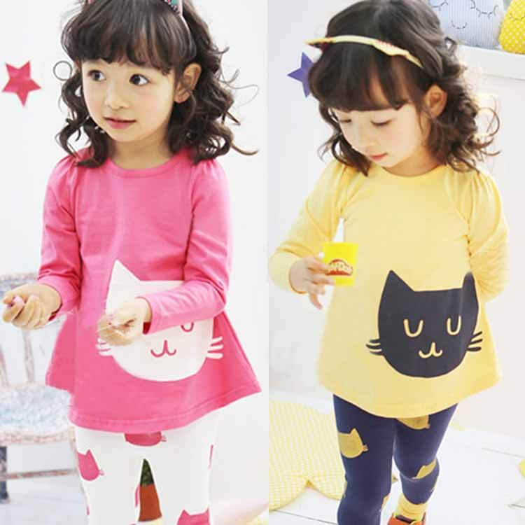 New baby Girl Kids clothes long sleeve Top Casual Shirt+Leggings Pant 2pcs Outfit 2Pcs Suit Set 2-7Y Clothes(China (Mainland))