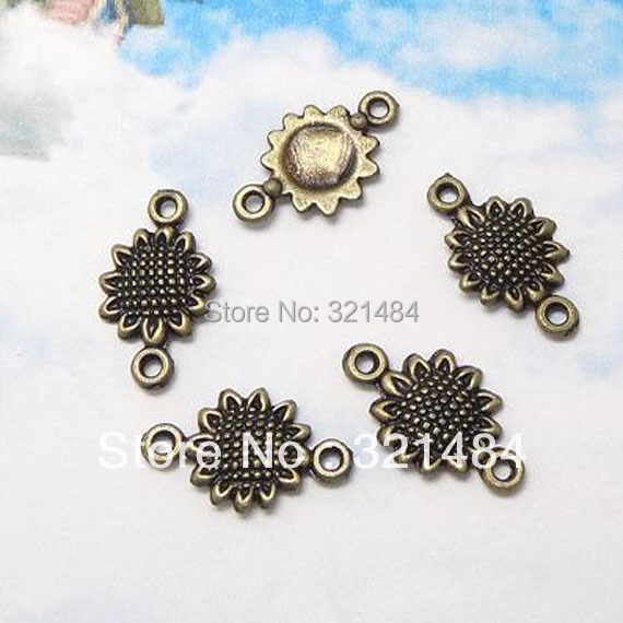 Antique Bronze 500pcs 10*16.5mm Sun Flower Link Connector Vintage Retro Metal Zinc Alloy Jewelry DIY Pendant Charms<br><br>Aliexpress