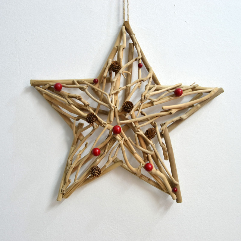 Handmade wood five-pointed star vintage wall decoration gift present - U Design Home store