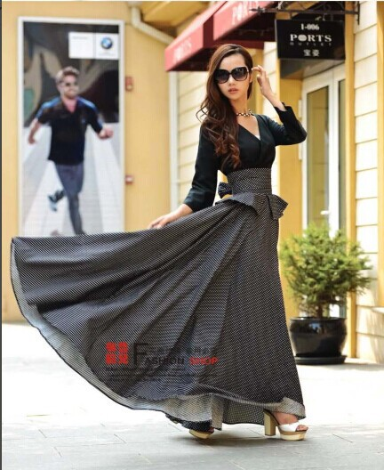 2014 spring fashion women's floor-length skirt dot print high waist ruffle mopping floor ultralarge ultra long vintage - NATIONAL FASHION LADY store