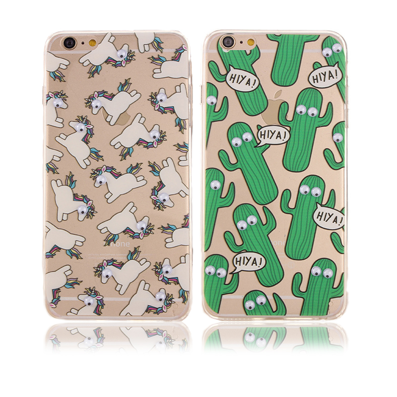 New Fashion Cute Unicorn Cactus Dog 3D Rotating small eyes Capa Para Fundas case For Iphone 6 6S/6 6S Plus Free Shipping