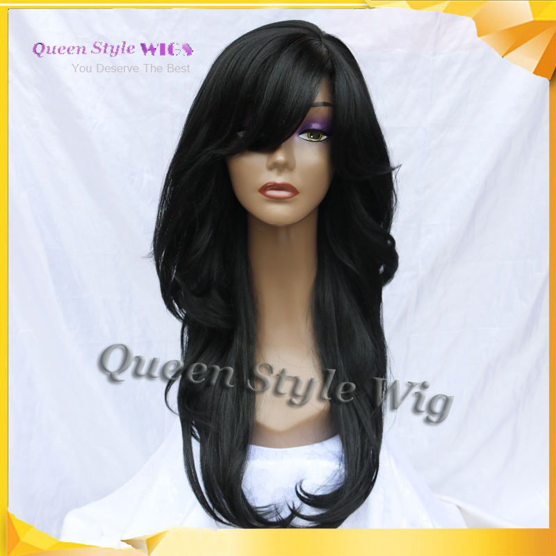 Style Layered Cut Synthetic Black Color Lace Front Wig, Long Black Yaki Hair African American Lace Front Wigs for Black Woman(China (Mainland))
