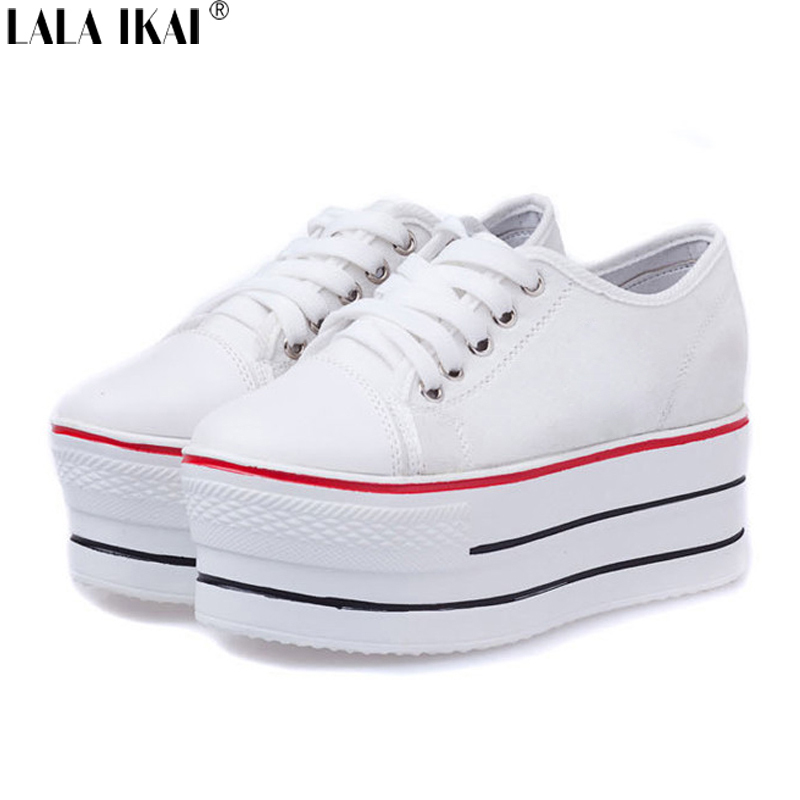 Brand Designer Women Wedge Sneakers Classic Star Print Casual Canvas Shoes for Women Lace Up 6 CM High Platform Shoes XWK012-5(China (Mainland))