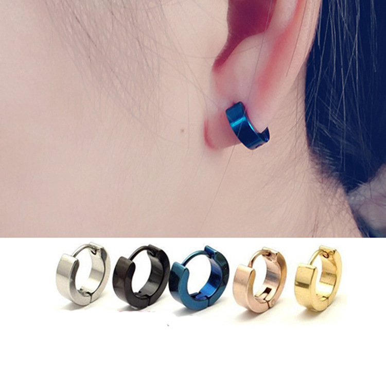 Free shipping 1pair new 2015 Tide men black men earrings ear button earrings wholesale trade smooth plane men jewelry(China (Mainland))