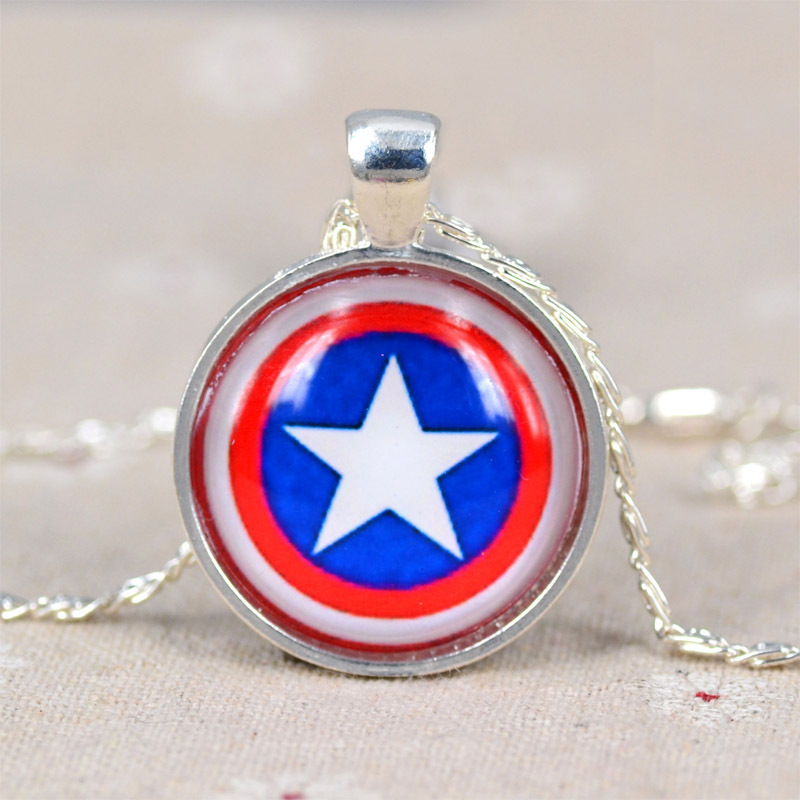 High Quality 2015 New Vintage Round Time Gem Stone Necklace Movie Character Pendant Silver Chain Fashion Charm N1967-N1972(China (Mainland))
