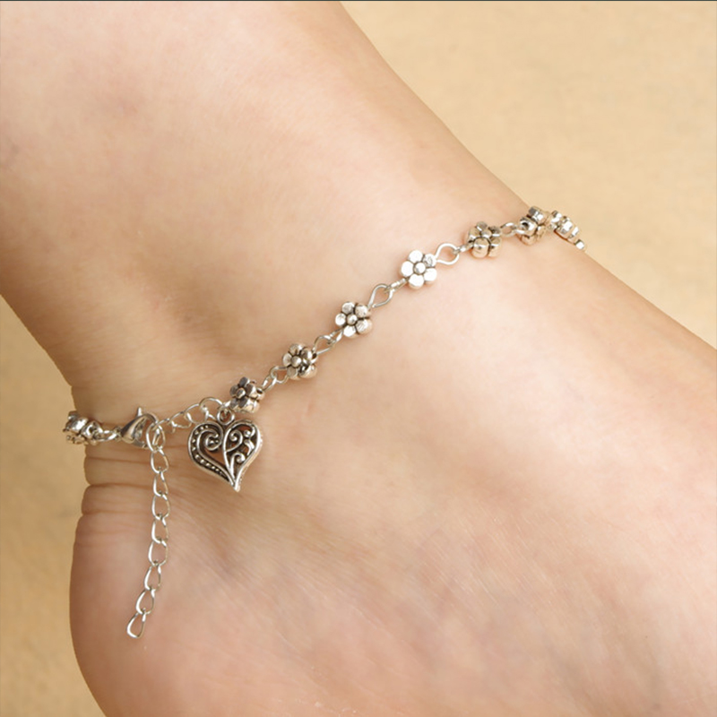 Fashion Jewelry Plum Flower Charm Anklets for Women Retro Heart-shape Tornozeleira Feminina Ankle Bracelet Chain Foot Chain(China (Mainland))