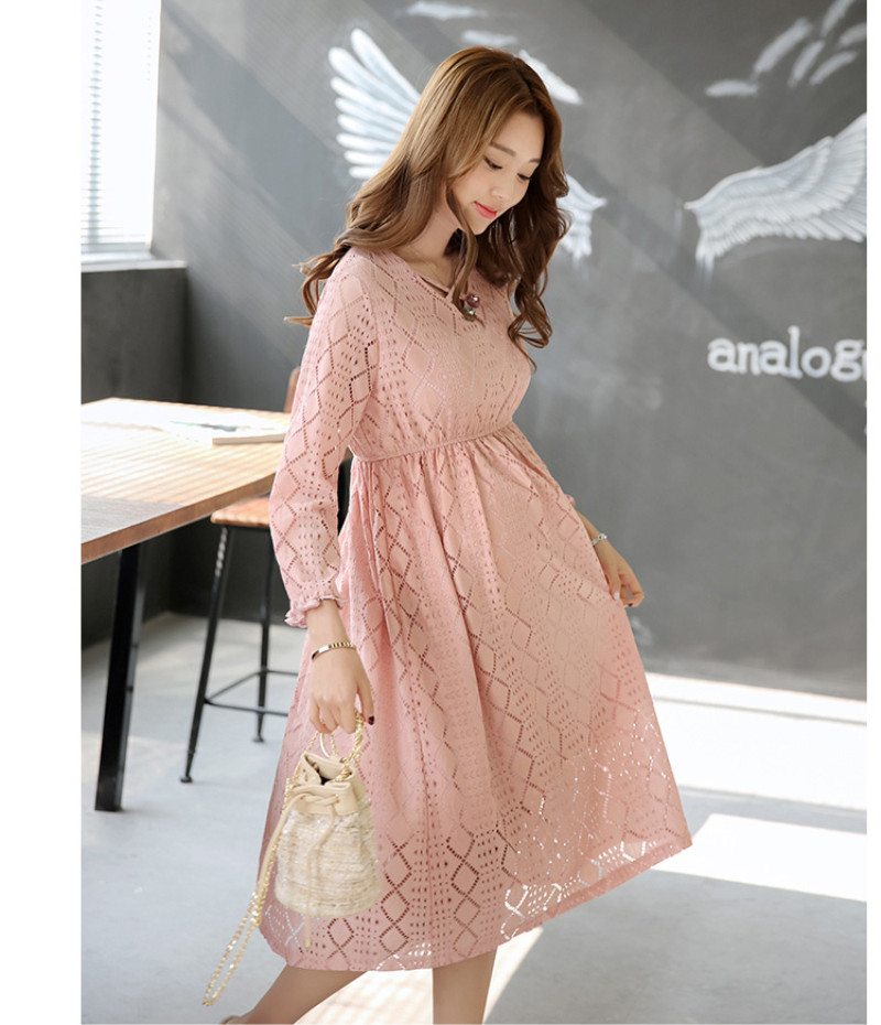 ... Maternity Spring Clothes Pink Lace Hollow Out Midi Dress for Pregnant  Women Fashion Elegant High Waist ... e05050a45b4e