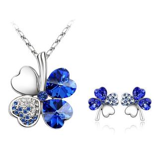 Гаджет  Accessories crystal sweet four leaf grass earrings necklace set accessories jewelry set None Ювелирные изделия и часы