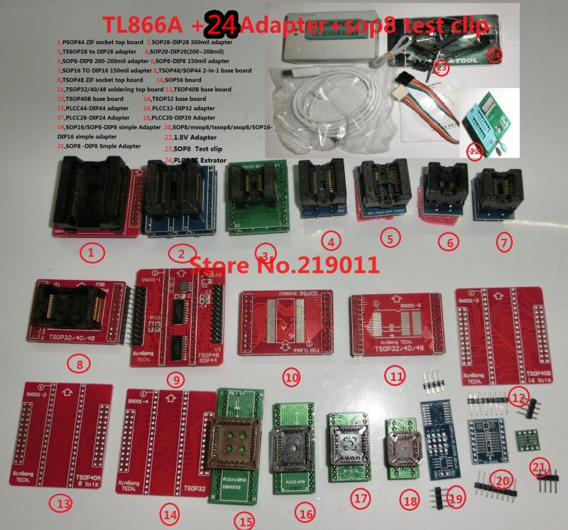 100% ORIGINAL V6.5 TL866A programmer +24 adapters +IC clip High speed TL866 AVR PIC Bios 51 MCU Flash EPROM Programmer(China (Mainland))