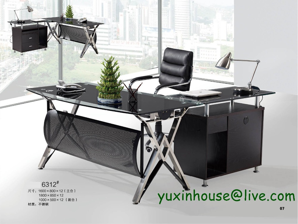 Tempered Glass Office Desk Boss Desk Table Commercial Office Furniture With Modern Design