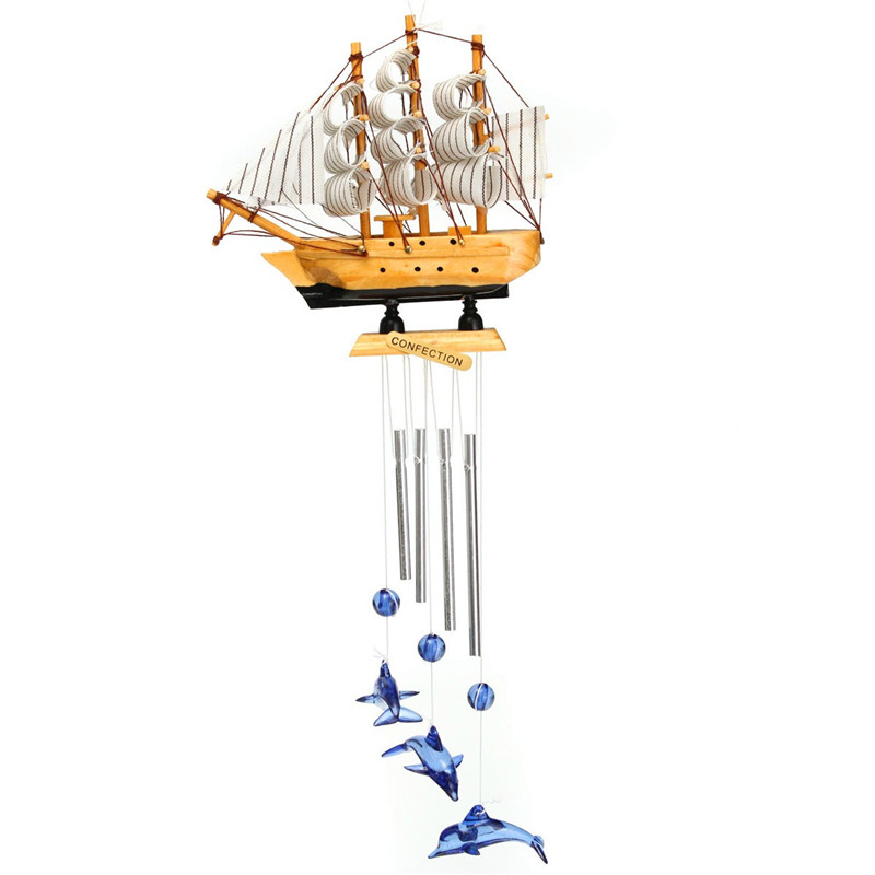 4 Tube Wood Handmade Boat Blue Dolphin Church Wind Chimes Outdoor Indoor Bells Garden Home Room Hanging Ornament Decor 14cm(China (Mainland))