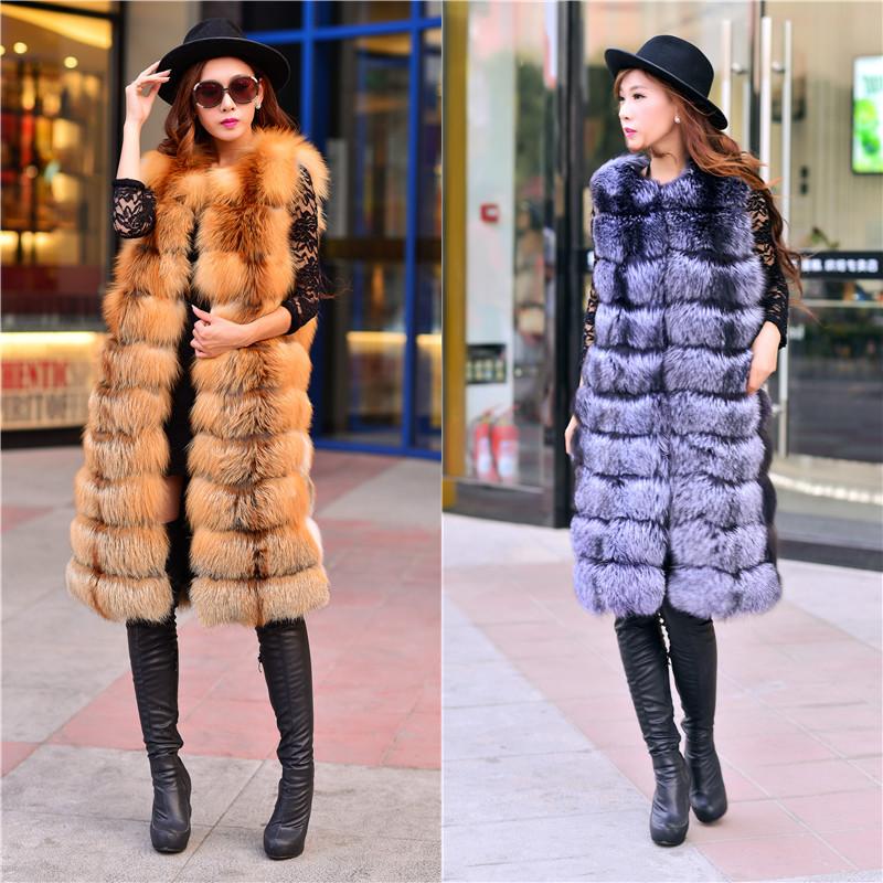 Long design vest blue fox fur coat fur vest