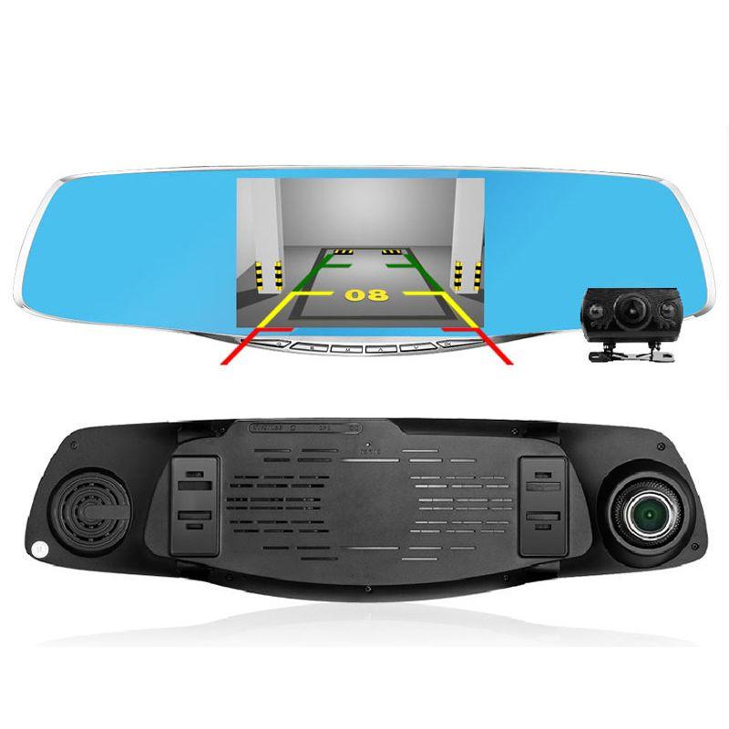 "4.3"" FHD 1080P Car DVR 170 Degree Wide Dual Camera lens Rear view Mirror G-Sensor Car video recorder dvr Parking Metal Frame(China (Mainland))"