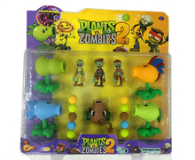 2016 New Plants vs Zombies Peashooter PVC Action Figure Set Model Toy Game Toys For Children Gift High Quality 5 IN 1 Brinquedos(China (Mainland))