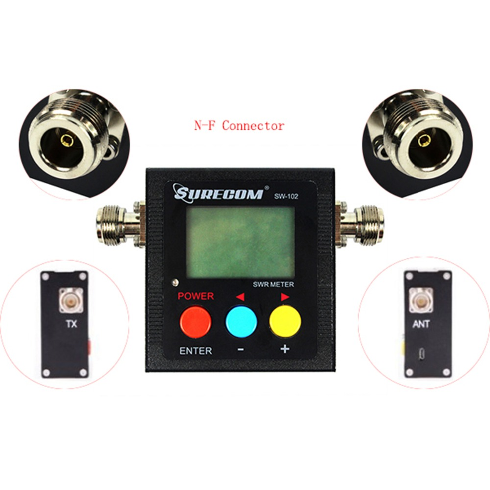 Power &SWR Meter SURECOM SW-102 VSWR 1.00-19.9 Digital VHF/UHF 125-525MHz for Two Way Radio Walkie Talkie Wholesale J6510A(China (Mainland))
