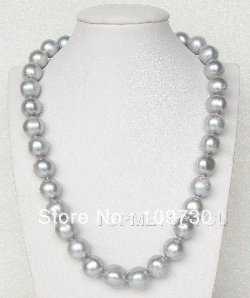 Jewelry 002185 WOW 13mm natural gray freshwater pearls necklace <br><br>Aliexpress