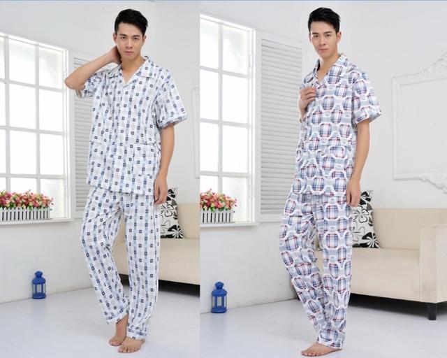 Мужчины в лето короткий рукав пижама комплект 100% хлопок тонко очень большой шотландка ...