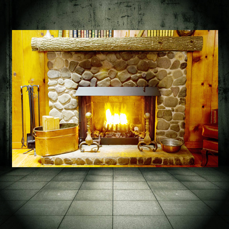 Fireplace wall mural wall sticker personalized decal for for Christmas wall mural plastic