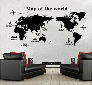 3d 60 120 cm pvc ikea papier peint carte du monde photo. Black Bedroom Furniture Sets. Home Design Ideas