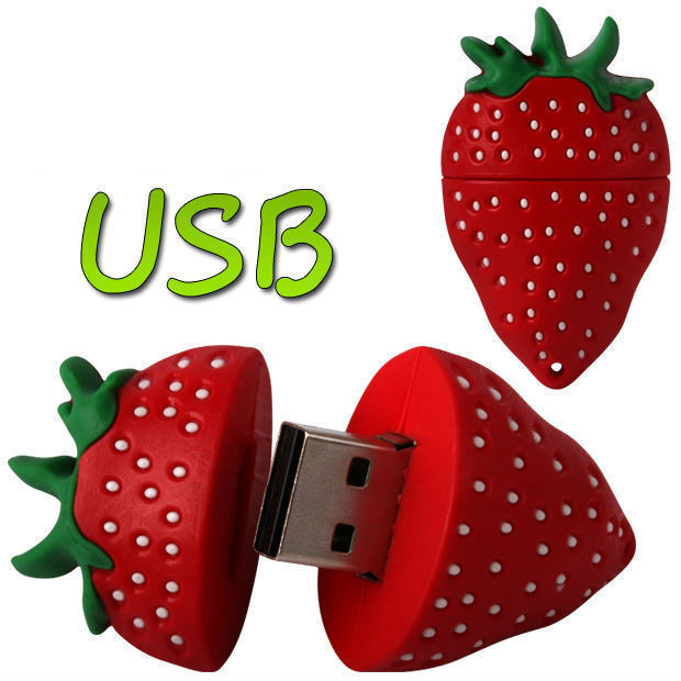 Simulat Strawberry USB 2.0 Memory Stick Flash Pen Drive Wholesale Price 4GB 8GB 16GB 32GB High Quality