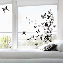 Buy Black Window Sticky Glass Sticker Wall Mural Decal Sticker Butterfly Flowers Tree Wall Sticker Decor Vinyl Art Home Wall Decor for $5.49 in AliExpress store