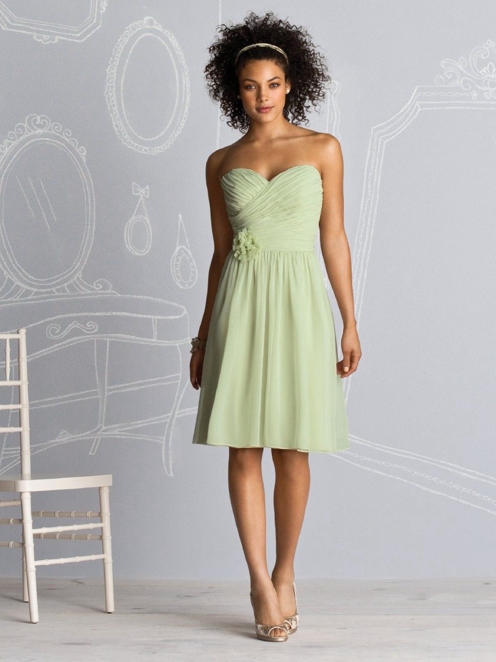 A line sweetheart knee length chiffon mint green for Below the knee dresses for wedding